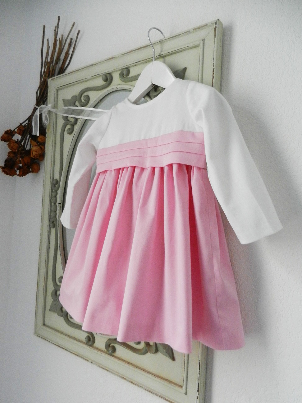 Duchesse or ange doa 283 robe bebe enfant rose blanche ceinture baby child dress pink white sash b