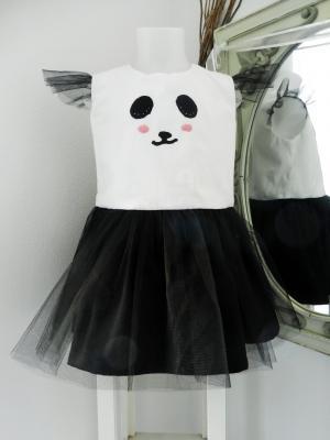 Panda dress with black tulle skirt