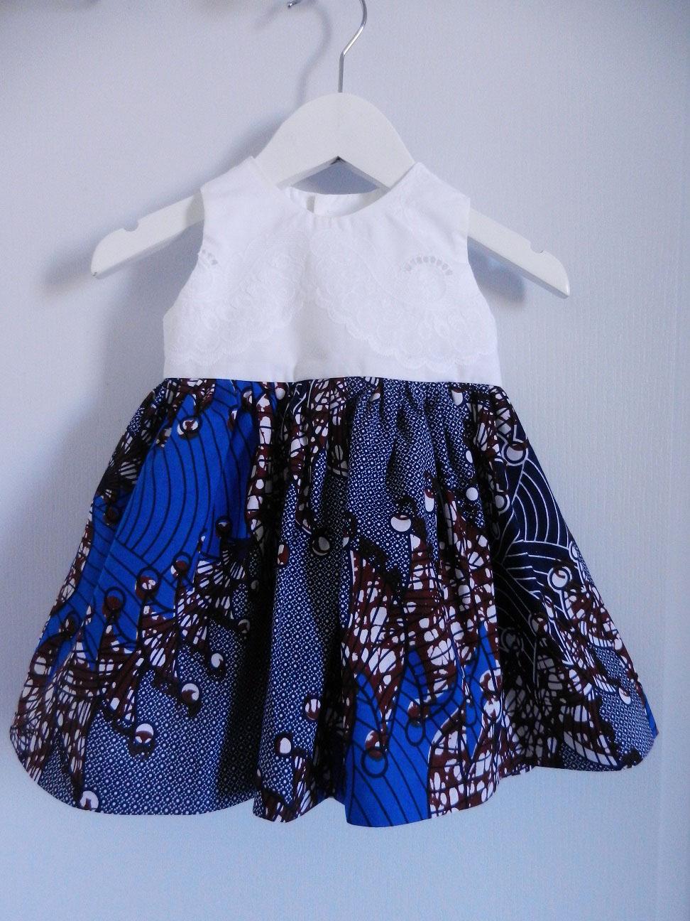 Duchesse or ange doa 291 robe wax dentelle bebe enfant baby child lace wax dress a