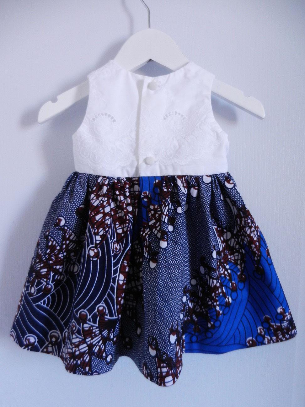 Duchesse or ange doa 291 robe wax dentelle bebe enfant baby child lace wax dress c
