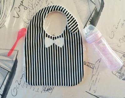 Navy and white stripes baby bib with white bow applique