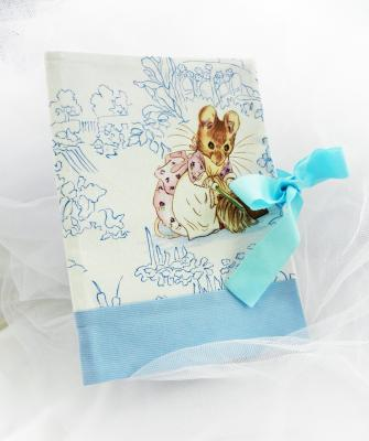 Health record book cover in Beatrix Potter fabric featuring a mouse