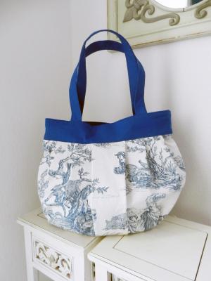 Marina bag in toile de Jouy pattern