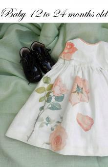 Duchesse or ange robe lin blanc roses oranges iconee