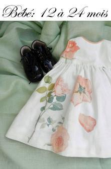 Duchesse or ange robe lin blanc roses oranges iconef2