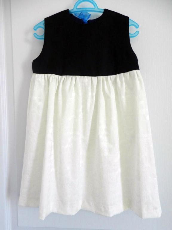 """Pacifique"" dress, dark blue yoke, off white damassé cotton skirt and corflower blue organza ribbon at the back."