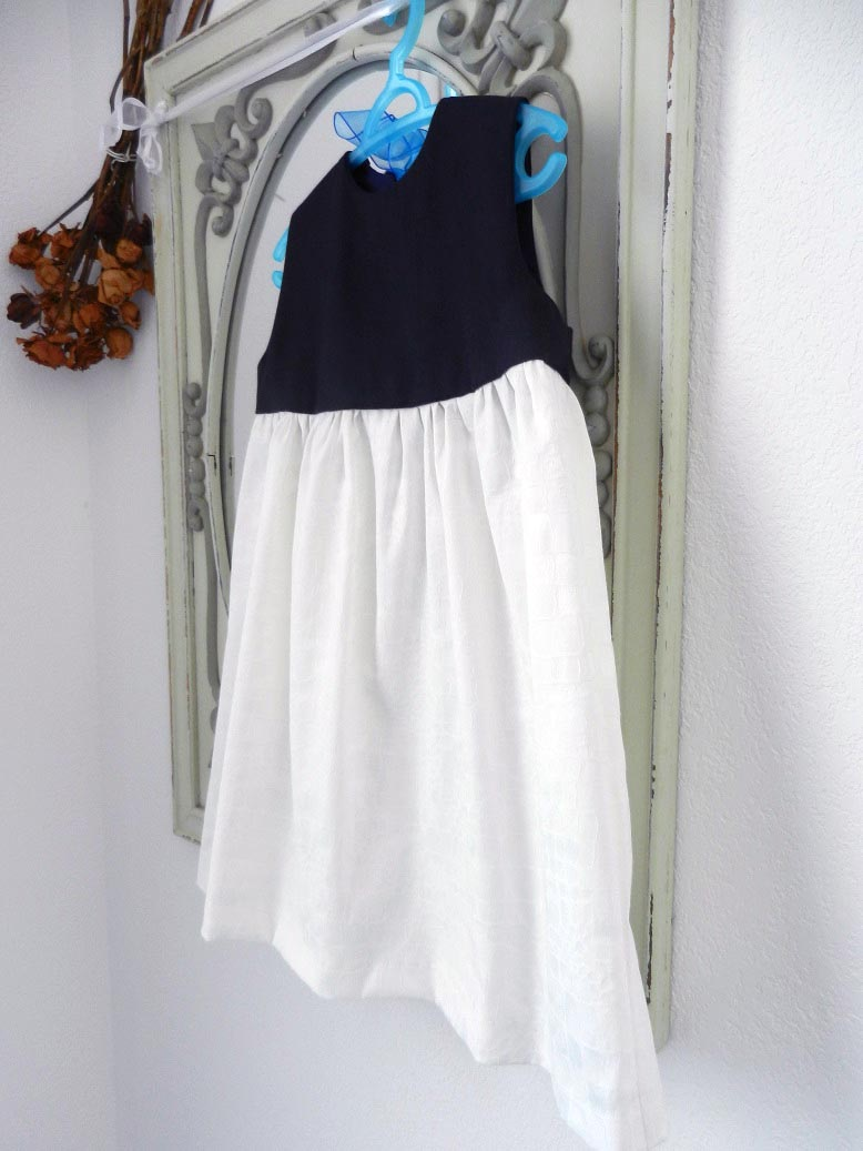 Duchesse or ange robe pacifique enfant fille blanche marine dress girl navy white d