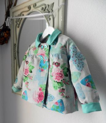 Pink and green butterflies and flowers print jacket