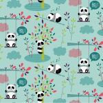 04 coton oeko tex pandas fond turquoise