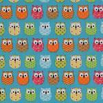 09 cretonne mini hiboux bleu et multicouleurs