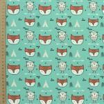 11 cretonne imprime renard hiboux tipis fond vert