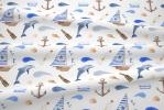 117 coton satine bateaux dauphins
