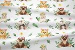 124 coton satine tigres ours moutons fleurs