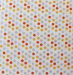 27 coton imprime pois orange jaune et gris