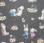 40 coton lapins fond gris fonce