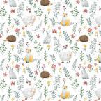 42 coton animaux de la foret herisson lapin renard
