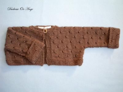 Short woolen brown cardigan - 3 months old
