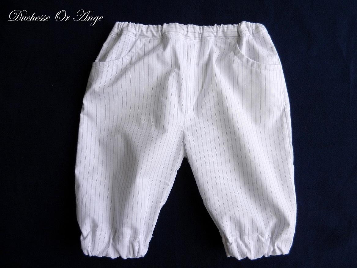 Doa 106 pantacourt enfant blanc white child capri pants a