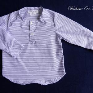 Doa 108 chemise enfant bleu et blanche navy and white child shirt a