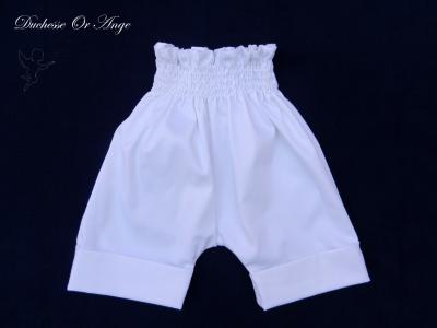 White satin coton short trousers - 6 months old