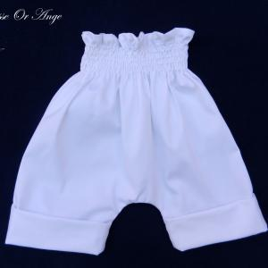 Doa 112 c pantalon court blanc 6 mois white short trousers 6 months old