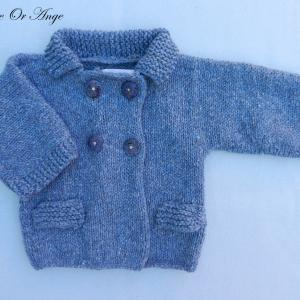 Doa 114 a veste laine bleue bebe wool blue baby jacket