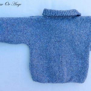 Doa 114 c veste laine bleue bebe wool blue baby jacket