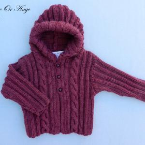 Doa 115 a veste capuche laine bordeaux bebe wool hooded burgundy baby jacket
