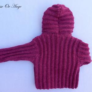Doa 115 c veste capuche laine bordeaux bebe wool hooded burgundy baby jacket