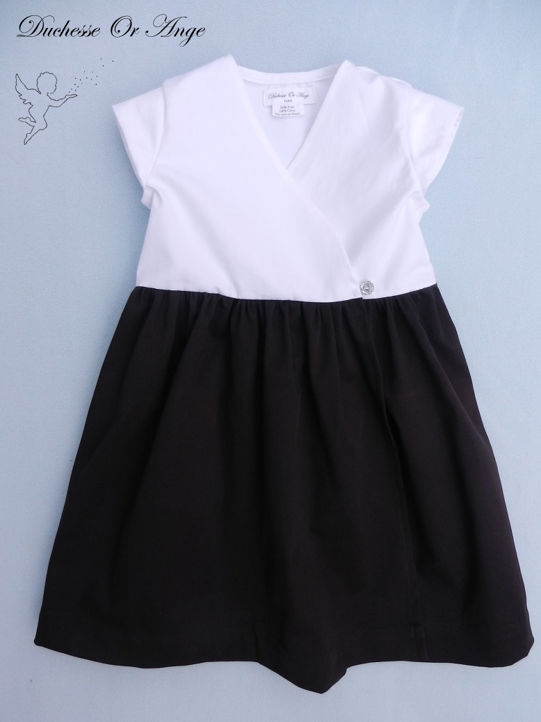 Doa 118 a robe fille marron et blanche brown and white girl dress