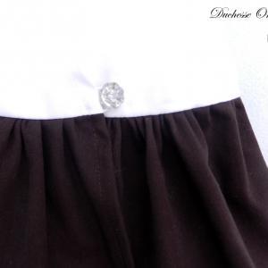 Doa 118 b robe fille marron et blanche brown and white girl dress