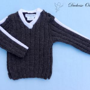 Doa 122 a pull laine alpaga laine marron bebe brown baby jumper alpaca wool