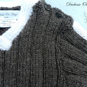 Doa 122 b pull laine alpaga laine marron bebe brown baby jumper alpaca wool