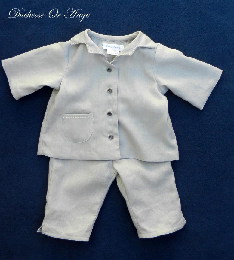 Doa 123 a ensemble bebe lin gris grey linen baby set