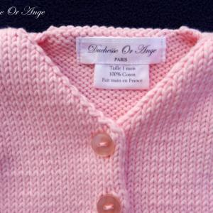 Doa 124 b gilet bebe tricot rose pink baby knit cardigan