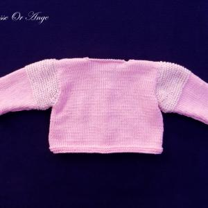 Doa 124 c gilet bebe tricot rose pink baby knit cardigan