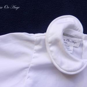 Doa 126 b chemise blanche bebe col claudine peter pan collar baby white shirt