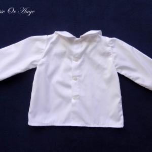 Doa 126 c chemise blanche bebe col claudine peter pan collar baby white shirt