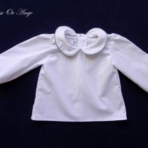 Doa 127 a chemise blanche bebe col claudine peter pan collar baby white shirt