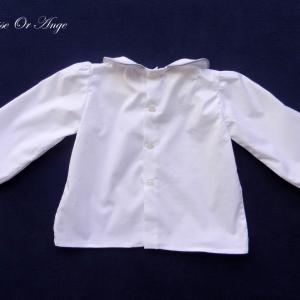Doa 127 c chemise blanche bebe col claudine peter pan collar baby white shirt