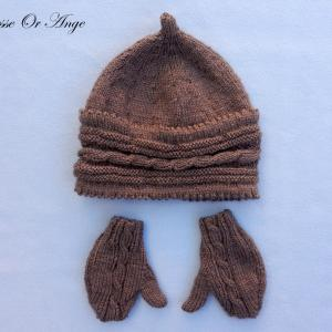 Doa 132 a bonnet et gants marrons bebe brown baby hat gloves