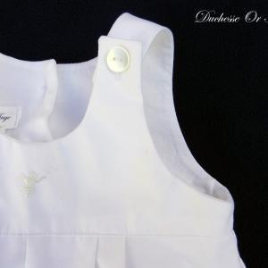 Doa 133 b salopette blanche bebe 6 mois white overalls baby 6 months