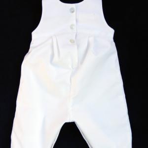 Doa 133 c salopette blanche bebe 6 mois white overalls baby 6 months