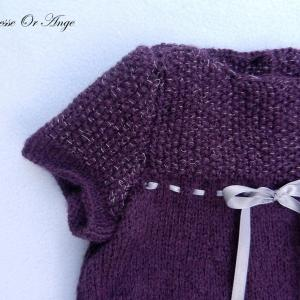 Doa 134 b robe tricot violet argent 6 mois knit dress purple silver 6 months old