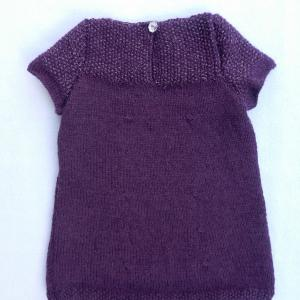 Doa 134 c robe tricot violet argent 6 mois knit dress purple silver 6 months old