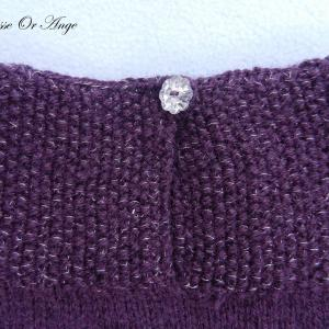 Doa 134 d robe tricot violet argent 6 mois knit dress purple silver 6 months old