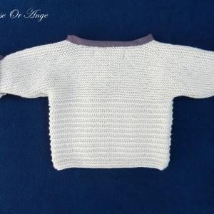 Doa 135 c gilet beige bebe laine 3 mois baby beige cardigan 3 months old