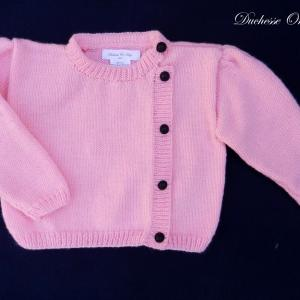 Doa 136 a gilet rose enfant bebe laine 2 and baby child pink cardigan 2 years months old