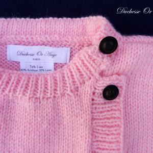 Doa 136 b gilet rose enfant bebe laine 2 and baby child pink cardigan 2 years months old