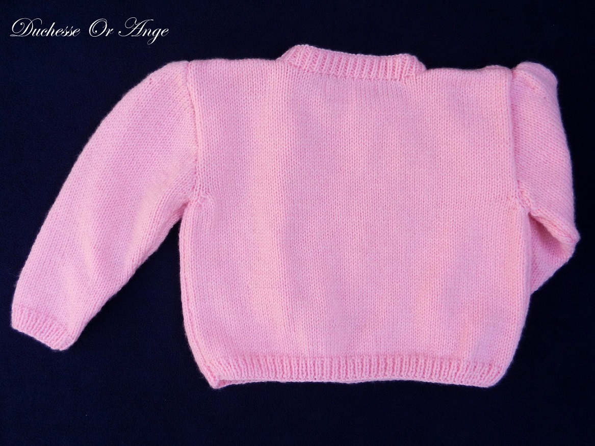 Doa 136 c gilet rose enfant bebe laine 2 and baby child pink cardigan 2 years months old